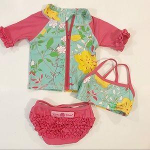 NWT Girls Gymboree Size 0-3 Month Cactus Two Piece Rash Guard Swimsuit Set